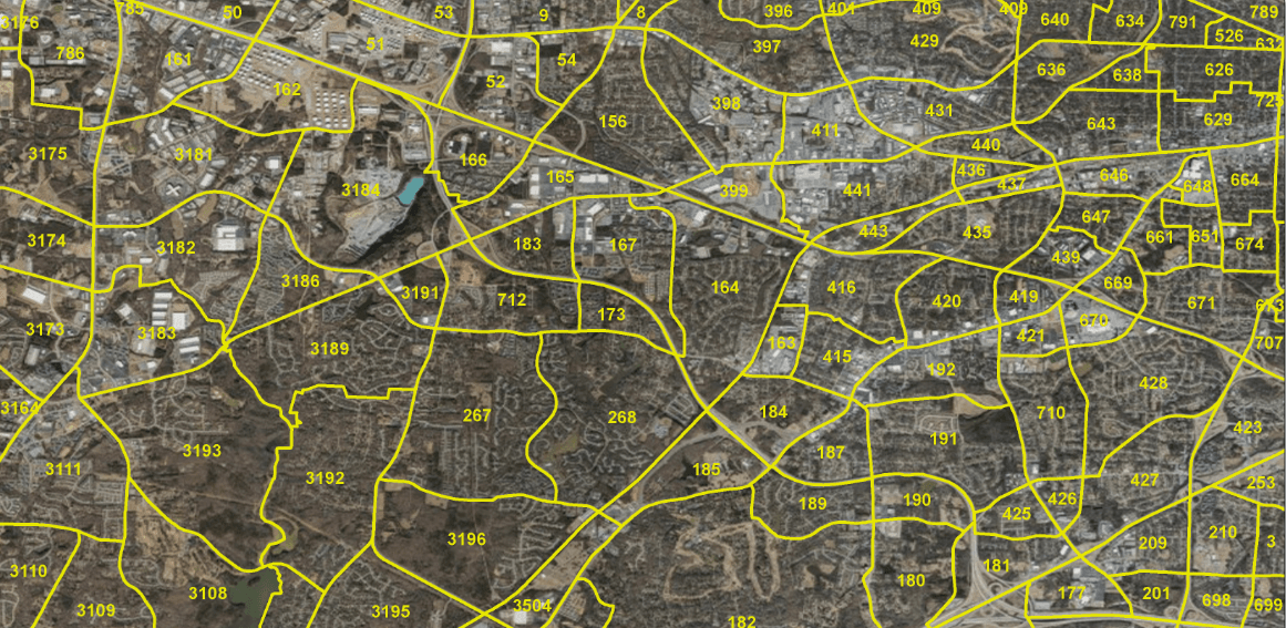 Map wih yellow sections delineated