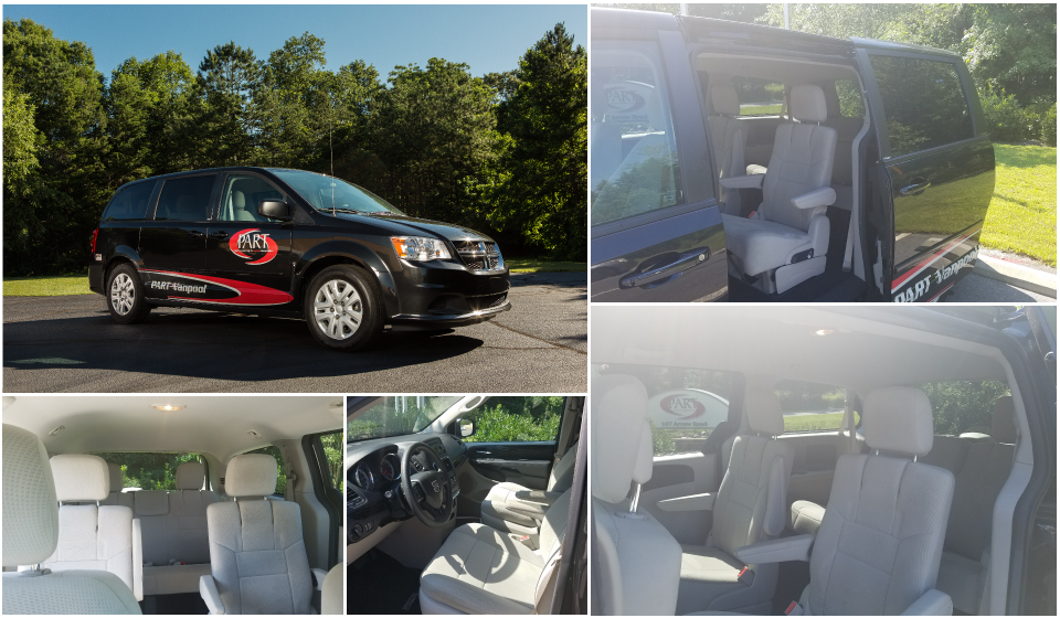 Collage of images of black dodge caravan and interior