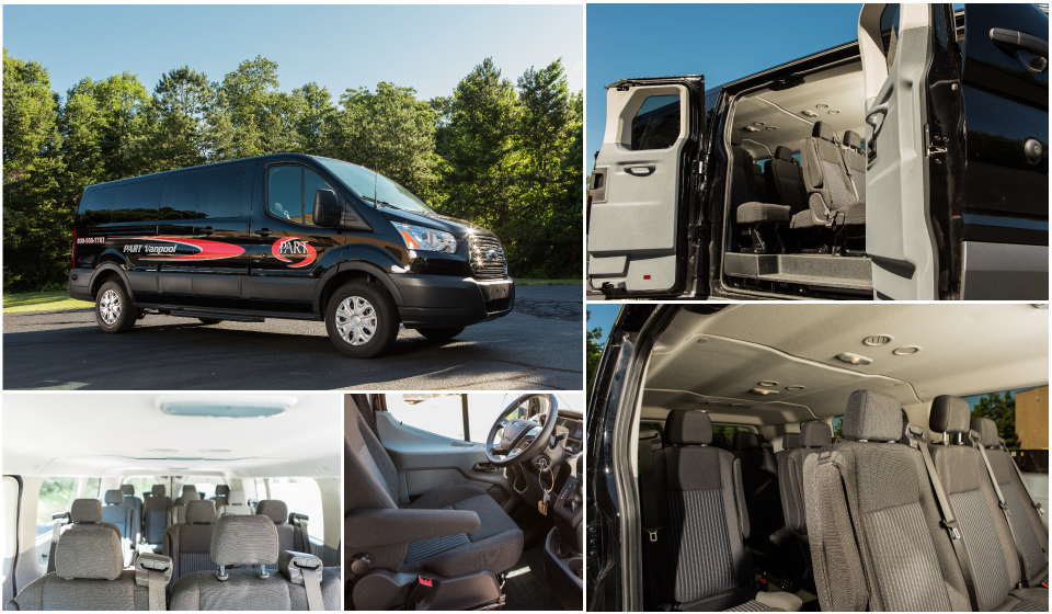 Collage of images of black 15 Passenger Van and interior
